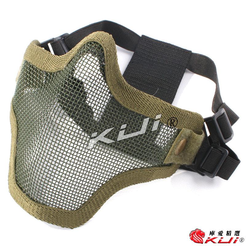 透氣 抗彈 半臉鐵網面罩 面具 護嘴 護臉 貼腮【OD綠色】CS生存遊戲