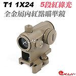 限量優惠!沙色~快拆增高版 T1 1X24 全金屬內紅點,快瞄鏡(5段紅綠光)