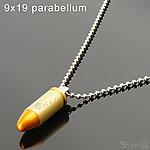 點一下即可放大預覽 -- 台製 9x19 parabellum 帕拉貝倫 金屬裝飾彈項鍊(1顆)