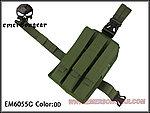 點一下即可放大預覽 -- OD 綠色~愛默生 EMERSON MP7 MP5 KRISS M1A1 M11A 通用腿掛三連彈匣袋