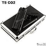 點一下即可放大預覽 -- 鋁箱版~黑色 T5 CO2 動力 美式鎮暴槍~防衛利器 (附金屬快拆式填彈座)~台灣製造