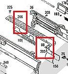 點一下即可放大預覽 -- KWA M4 零件 上槍身魚骨片組(零件編號#88、203、266)
