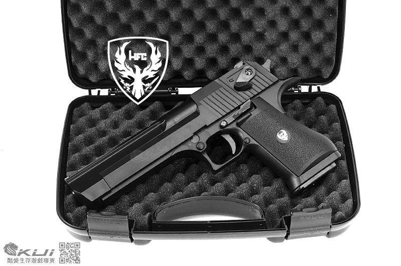 HFC 沙漠之鷹 黑色 6mm 瓦斯槍 (滑套可動可後定,有後座力,附槍箱)