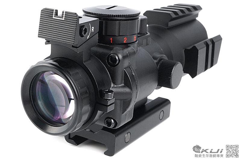 機械瞄4X32四倍小海螺內紅點快瞄鏡(紅綠藍三段光+戰術三面魚骨)