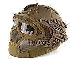限量優惠!狼棕色~全罩式 戰術頭盔鐵網面罩,護目鏡
