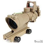 點一下即可放大預覽 -- 沙色 4X32 綠色真光纖 4倍小海螺快瞄鏡 + 自動感光 內紅點 快瞄鏡