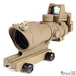 沙色 4X32 紅色真光纖 4倍小海螺快瞄鏡 + 自動感光 內紅點 快瞄鏡