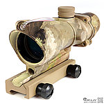潑墨迷彩 感光式 4X32 四倍小海螺倍鏡 (光纖紅點+戰術十字線),狙擊鏡,免裝電池