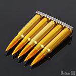 點一下即可放大預覽 -- 黃銅色~7.92 x 57 Mauser 毛瑟 金屬裝飾夾條,子彈鏈(5顆)