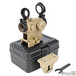 點一下即可放大預覽 -- 類T2【沙色】內紅點 快瞄鏡 帶快拆鏡座 (附前後壓克力保護防塵蓋+緩衝防護盒+高低鏡座)