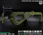 點一下即可放大預覽 -- 2017年新款強化版~軍綠色 SRU SR-PDW-P3 瓦斯槍 套件(通用WE GEN3 G18/G17/G34/G35)