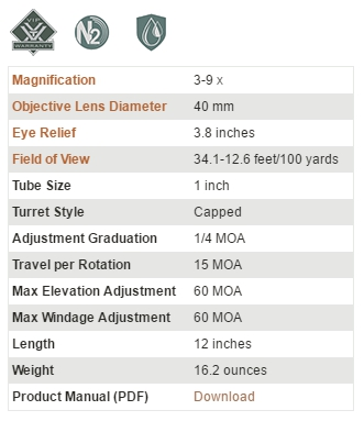 真品 VORTEX Crossfire II 3-9x40 狙擊鏡 (CF2-31025)