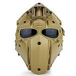 全罩式【沙色】懲罰者戰術頭盔,面罩,護目鏡(黑色鏡片)
