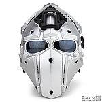 全罩式【銀色】懲罰者戰術頭盔,面罩,護目鏡(黑色鏡片)