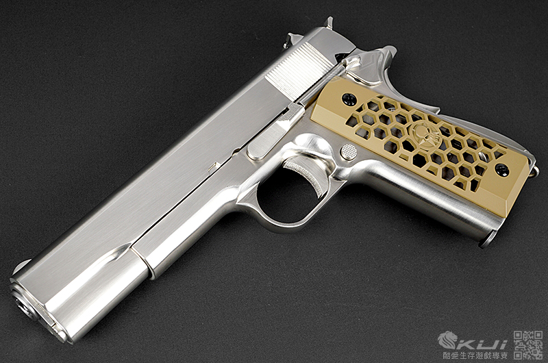 [沙色CNC 蜂巢握把] 鍍鉻銀軍版~WE  M1911 全金屬瓦斯槍,手槍