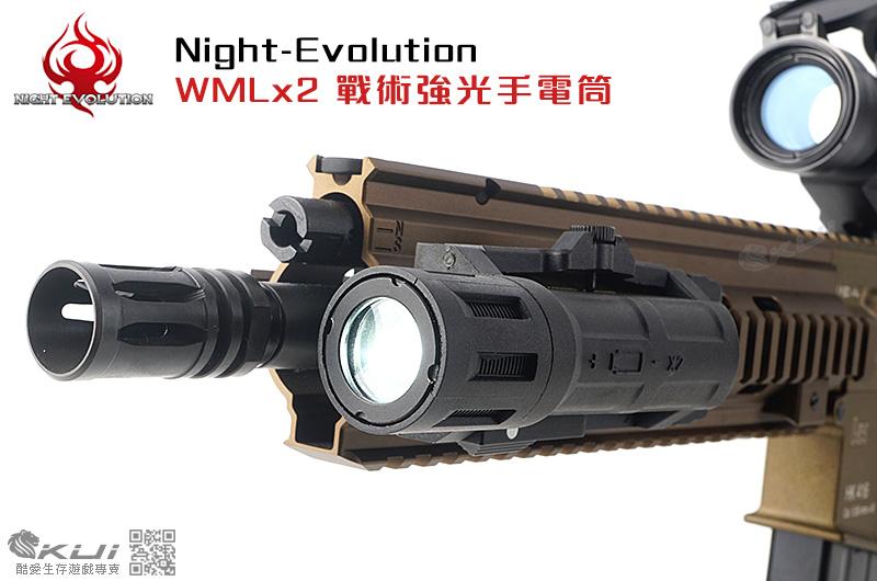 Night-Evolution 夜間進化 WMLx2 戰術強光手電筒,頭盔軌道,戰術魚骨∼NE04038-BK