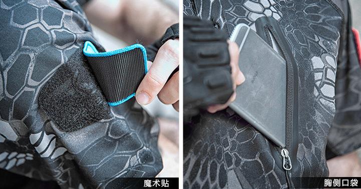 XL號 黑蟒紋 戰術速乾T恤,PLOL領,短袖上衣(海豹最愛),排汗,涼爽,耐磨,防紫外線