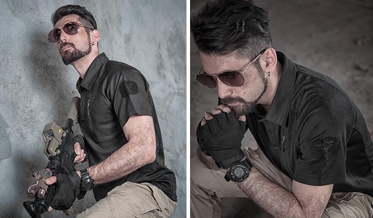 限時下殺,優惠一件199元~L號 戰術黑 戰術速乾T恤,PLOL領,短袖上衣(海豹最愛),排汗,涼爽,耐磨,防紫外線