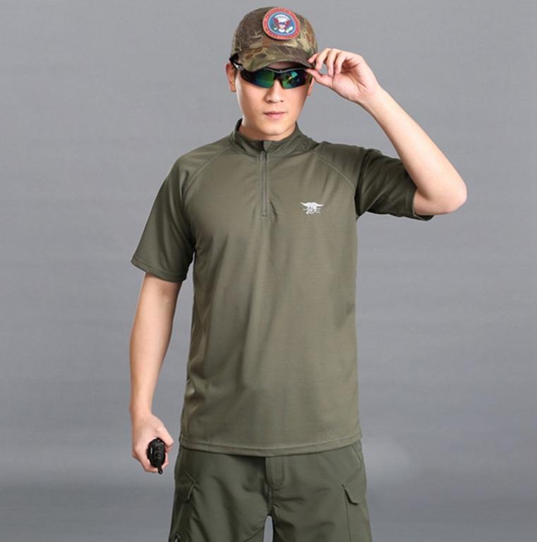 M號 軍綠 海豹立領速乾T恤,短袖上衣,吸濕,排汗,涼爽