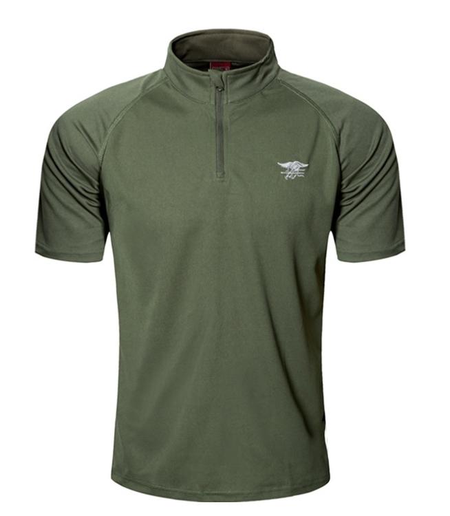 限時下殺,優惠一件一百元~M號 軍綠 海豹立領速乾T恤,短袖上衣,吸濕,排汗,涼爽
