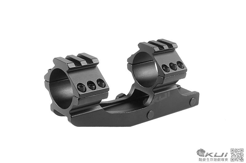 黑色 30mm/25.4mm兩用 斜體支架 一體式夾具 戰術軌道 抗震