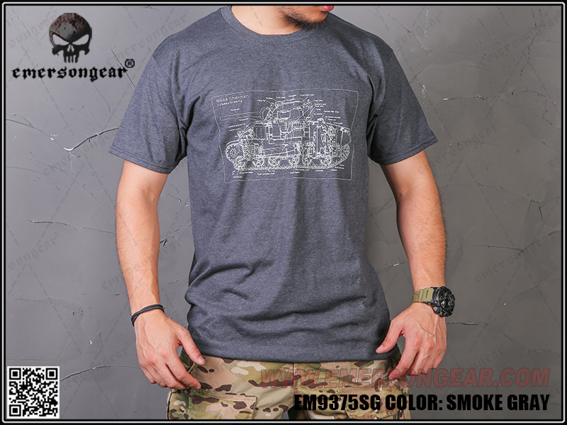 M4A4 Shherman 雪曼坦克戰車 硝煙灰 L號~EmersonGear 愛默生 軍事文化T恤 短袖上衣