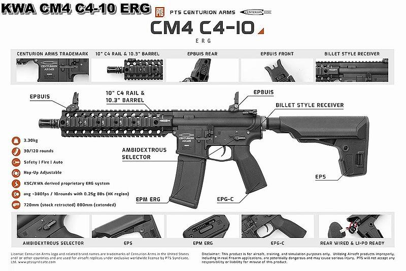 KWA CM4 C4-10 ERG 電動槍,電槍(無彈斷電設計,有後座力)