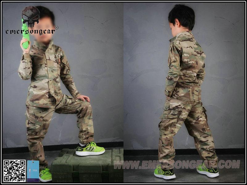 EMERSON 愛默生【多地迷彩-13~14歲】兒童作戰訓練服 小朋友 套服 (衣服+褲子)