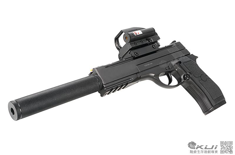 滅音快瞄版~超強~19228 戰術加長版 CO2 全金屬直壓槍(光纖準星照門)
